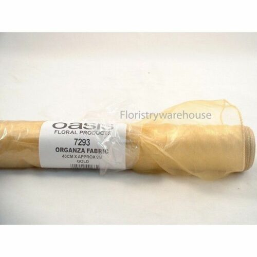 wide x 9 metre roll 16 inch Gold organza draping fabric material by Oasis 40cm