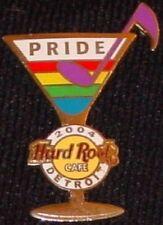 Hard Rock Cafe DETROIT 2004 GAY PRIDE PIN Rainbow MARTINI GLASS - HRC #23167