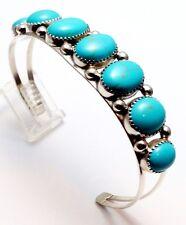 Navajo Turquoise Sterling Silver Cuff Bracelet - Phillip Yazzie