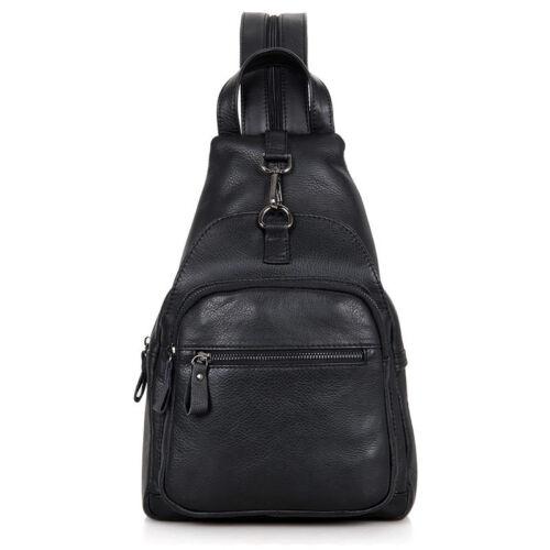 Genuine Leather Sling Messenger Cross body Bags Backpack Day Pack Men Women