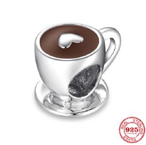 Coffee Cup Heart Charm Bead