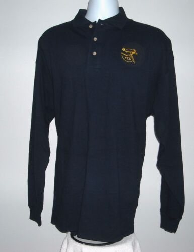 Mens FTD Florists Transworld Delivery Long Sleeve Polo Shirt XL blue embroidered