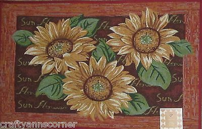 Red Yellow Sunflowers Tapestry Kitchen Mat Accent Rug 20 x 30