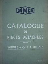 SIMCA 6 CV F 4 VITESSES / 1938 / CATALOGUE PIECES DETACHEES