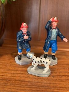 Lemax Village Accessories SILLY BOY FIREMEN FIRE FIGHTERS AND DALMATIAN Set Of 3