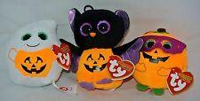~ New!  2014 Ty Beanie Baby Halloweenies Set of 3 BATTY-MYSTERY-TREATSIE Retired