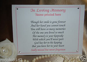 Image Is Loading Funeral Memorial Table His Her Smile Poem Freestanding