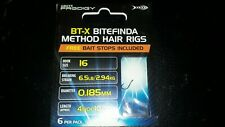 "6 Hair Rigs Greys Prodigy BT-X Bitefinda Hair Rigs  14/"" Long 1 PACK OF 6"