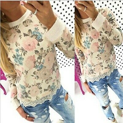 Fashion Casual Womens Long Sleeve Shirt Lace Blouse Loose Cotton Tops T Shirt
