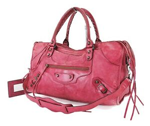 Auth-BALENCIAGA-Part-Time-Red-Leather-2-Way-Hand-Shoulder-Bag-Purse-32543