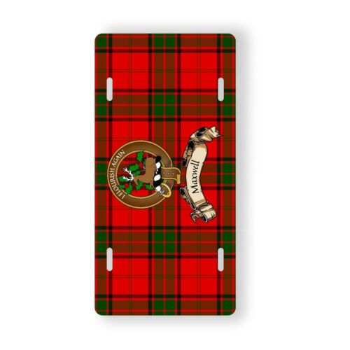Maxwell Scottish Clan Dress Tartan Novelty Auto Plate Tag Family Name Plate