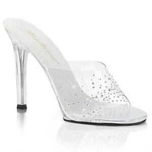 Fabulicious GALA-01SD Womens Sexy Clear Heel Slide Stilleto w/ Rhinestone Sandal