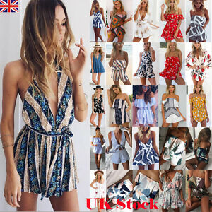 UK Stock Womens Holiday Mini Playsuit Ladies Jumpsuit Summer Beach ...