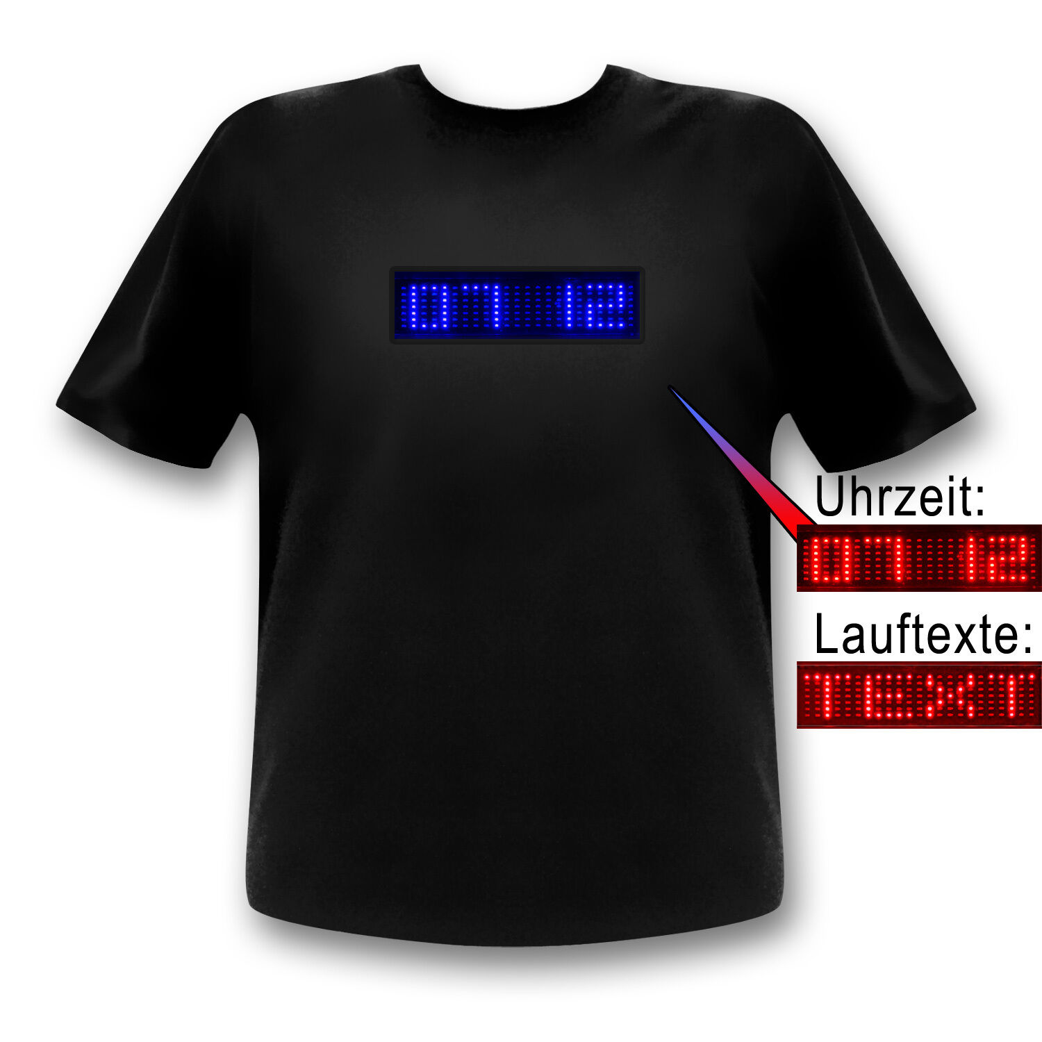 Party-Shirt Uhzeit LED T-Shirt - Fun-Shirt mit programmierbarerm LED-Display