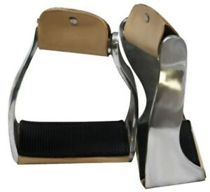 Showman-Twisted-Angled-Aluminum-Stirrups-w-Rubber-Grip-Tread-NEW-HORSE-TACK