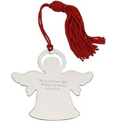 Personalised Engraved Silver Angel Christmas Tree Decoration Free engraving