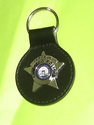 Chicago Police Sergeant Badge Key Chain w/ Leather Strap