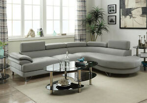 Details about Living Room Curved Sectional Sofa Couch Round Chaise Grey  Faux Leather Metal Leg