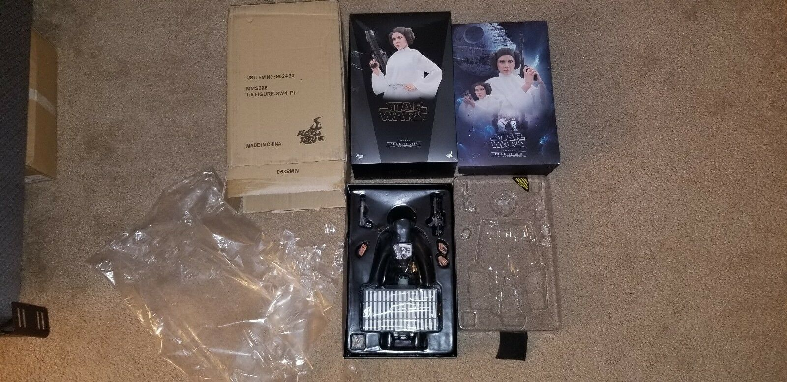 1 6 Hot Toys Star Wars Princess Leia MMS298 box accessories instructions weapon