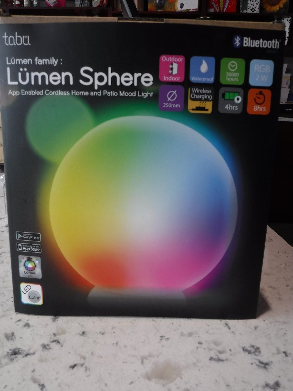 Lumen By Tabu Mood Light Light Light Sphere TL-700 Blautooth Smart Cordless Outdoor Indoor da218b