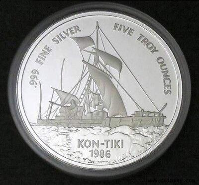 Samoa 1986 Kon Tiki 25 Tala 5oz Silver Coin,Proof