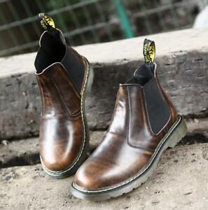 Mens-military-shoes-work-pull-on-leather-Chelsea-outdoor-ankle-boots-plus-size