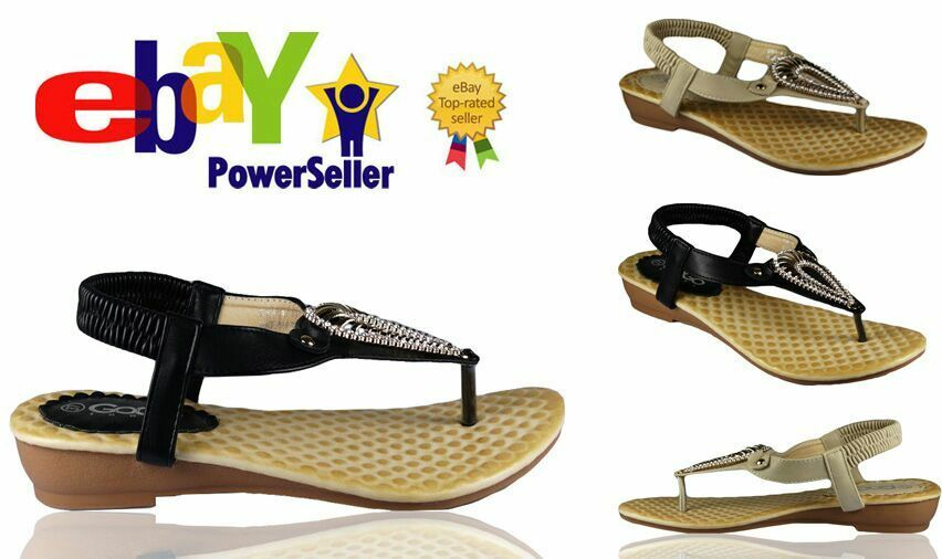 LADIES FLAT SHOES SANDALS BLACK WOMENS STRAPPY GLADIATOR WEDGE CASUAL SANDALS SHOES SIZE THONG 1b6675