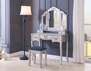 Dressing Table Set White Ivory Black Silver Stool Large 3 Panel ...