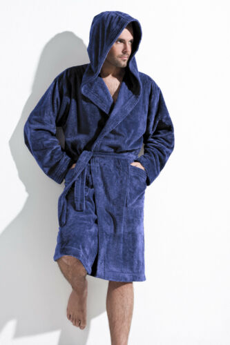 Mens Luxury Knee Length Dressing Gown Bathrobe with Hood Robe Size M L XL XXL