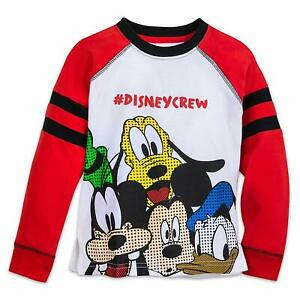 NWT Disney Mickey Mouse Boys Long Sleeve Shirt Top 5//6,7//8 Red