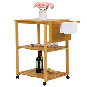 Details about Rolling Wood Kitchen Trolley Cart W/Cutting Board Stand  Shelves W/Wheels