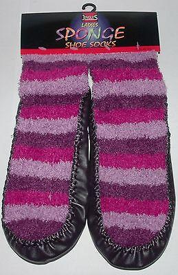 Jingles Damen Pantoffel/Schuhe Socken Ledersohle Size 3 & 6 UK Farbauswahl