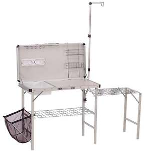 Details About Portable Camping Outdoor Kitchen Prep Sink Table Organizer Surface Stand Coleman