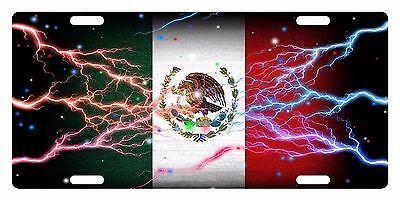 MEXICO FLAG Custom License Plate Mexican Emblem Thunder Version # 12