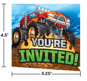Monster Truck Rally Party Invitations 8 Birthday Party Supplies