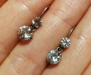 San Francisco e43b2 2b26b Details about Earrings old studs in silver or white stones sapphires- show  original title