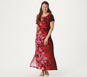 Bob-Mackie-Ombre-Floral-Knit-Maxi-Petite-Dress-RED-SIZE-PLARGE-NWT-A349817