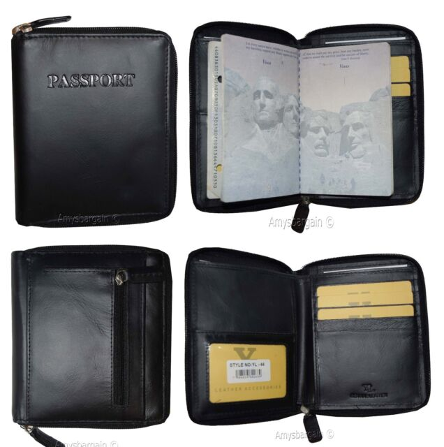 35eeada3845c Leather Passport Cover Wallet. Zip Around Pass Port Case Card ATM ID Holder*