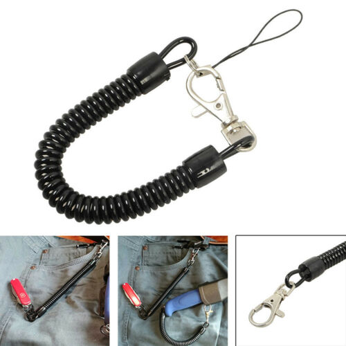 3x Useful Black Retractable Spring Coil Spiral Stretch Chain Keychain Key Ring