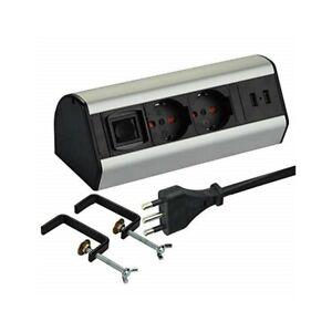 Multipresa-da-Scrivania-2-Schuko-10-16A-2-USB-2-4A-supporti-per-fissaggio