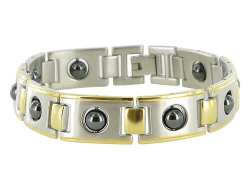 """Men/'s Stainless Steel Gold Plated Link Hematite Magnetic Therapy Bracelet 8.5/"""""""