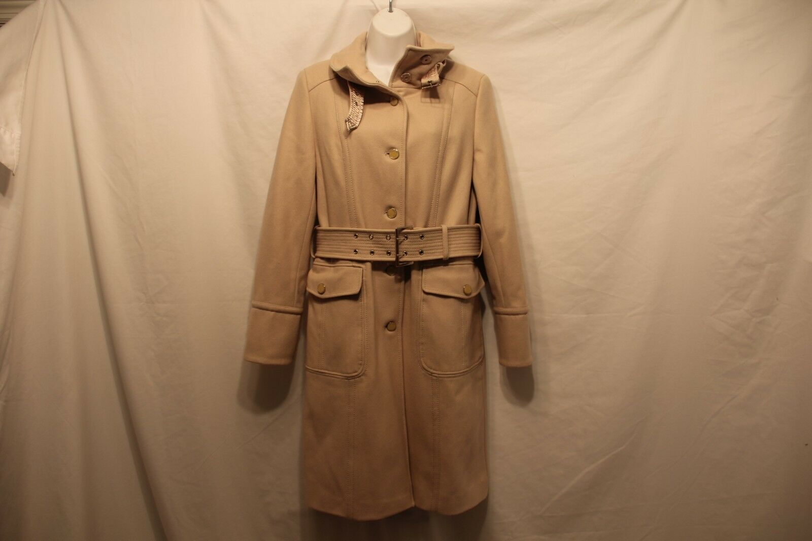 Kenneth Cole New York Wool Blend Belted Coat in Beige Women's US Size 6
