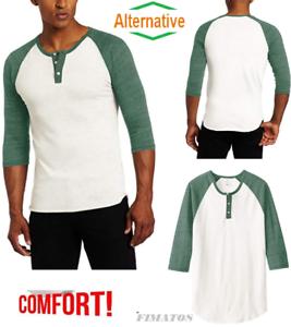 0207ee3d Alternative Big Size, Men's Raglan 3/4 Sleeve Henley Shirt,2X,Ivory ...