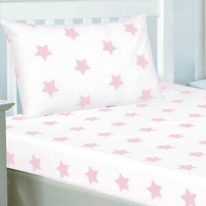 Bebe-Rose-et-Blanc-Stars-Junior-Ajuste-Drap-et-Set-Taie-D-039-Oreiller-Polycoton