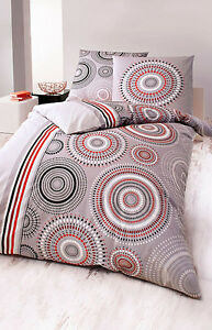 bettw sche renforce kreise grau rot schwarz wei rei verschluss mandala 135x200 ebay. Black Bedroom Furniture Sets. Home Design Ideas