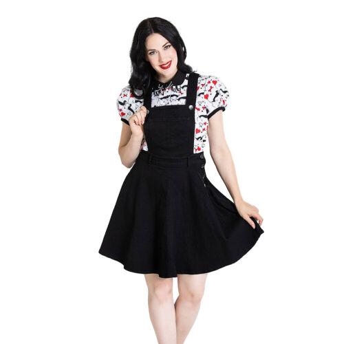 Hell Bunny Dakota Rockabilly Alternative Womens Denim Black Pinafore Mini Dress