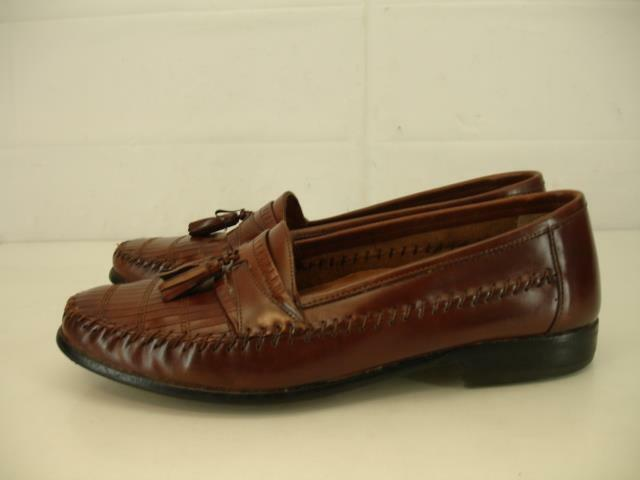 Mens 9 D M Giorgio Brutini Brown Woven Leather shoes Loafers Slip-On Tassel Mocs