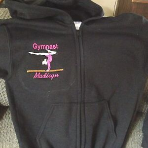 b53e10af5 Image is loading Personalized-Girls-Gymnastic-Gymnast-Dance-Sweatshirt -Zip-up-