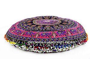 Elephant-Mandala-Indien-Sol-Rond-Coussin-Meditation-Yoga-Oreiller-Ottoman-Housse