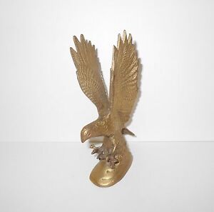 Vintage Brass Swooping Bald Eagle Flying Talons Out American Bird Hunting